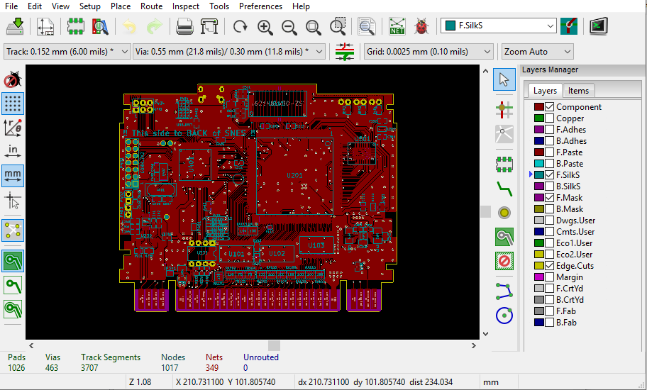 Basic view for KiCAD PCB Layouter